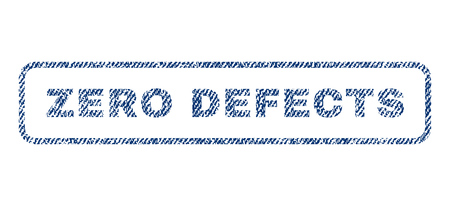 defects: Zero Defects text textile seal stamp watermark. Blue jeans fabric vectorized texture. Vector tag inside rounded rectangular shape. Rubber sign with fiber textile structure.
