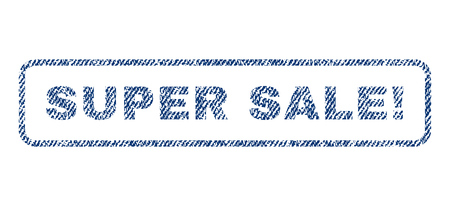 marvelous: Super Sale! text textile seal stamp watermark. Blue jeans fabric vectorized texture. Vector tag inside rounded rectangular shape. Rubber sticker with fiber textile structure.