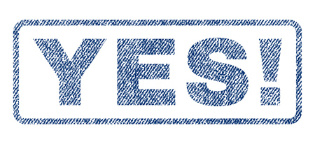valid: Yes! text textile seal stamp watermark. Blue jeans fabric vectorized texture. Vector caption inside rounded rectangular shape. Rubber emblem with fiber textile structure. Illustration