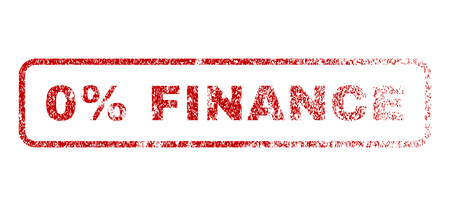 0 Percent Finance text rubber seal stamp for watermarks. Textured sticker. Vector red caption inside rounded rectangular shape. Grunge design and unclean texture.