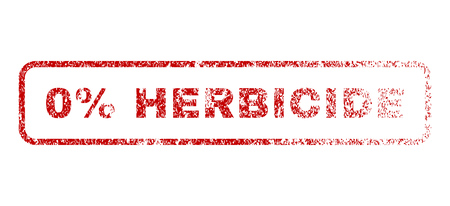 herbicide: 0 Percent Herbicide text rubber seal stamp for watermarks. Textured sticker. Vector red tag inside rounded rectangular banner. Grunge design and unclean texture. Illustration