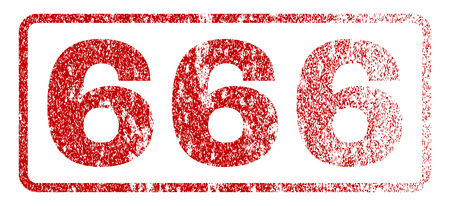 666 text rubber seal stamp for watermarks. Textured sticker. Vector red caption inside rounded rectangular banner. Grunge design and dust texture. Illustration