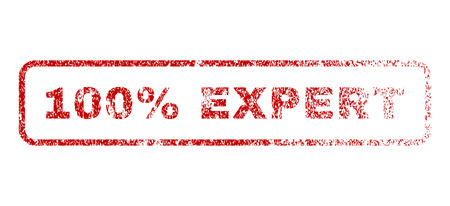 fully: 100 Percent Expert text rubber seal stamp for watermarks. Textured sticker. Vector red caption inside rounded rectangular banner. Grunge design and dirty texture. Illustration