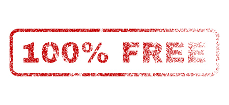 fully: 100 Percent Free text rubber seal stamp for watermarks. Textured message. Vector red caption inside rounded rectangular banner. Grunge design and dust texture.