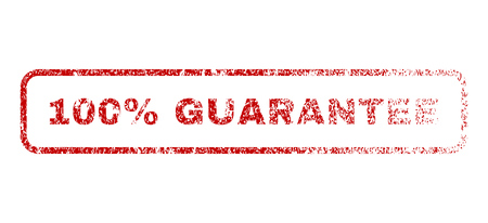 fully: 100 Percent Guarantee text rubber seal stamp for watermarks. Textured sign. Vector red tag inside rounded rectangular shape. Grunge design and dust texture.