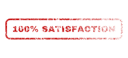 fully: 100 Percent Satisfaction text rubber seal stamp for watermarks. Textured message. Vector red tag inside rounded rectangular shape. Grunge design and scratched texture.