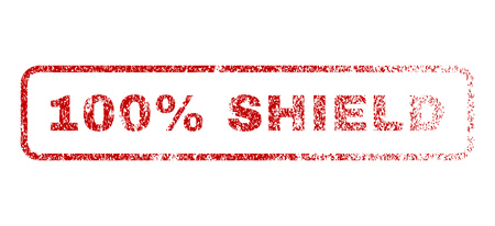 fully: 100 Percent Shield text rubber seal stamp for watermarks. Textured sign. Vector red tag inside rounded rectangular banner. Grunge design and dirty texture. Illustration