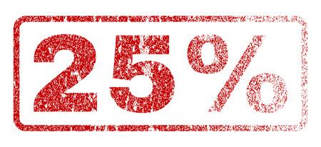 25% 本文ゴムスリーブは、透かしのスタンプ。織り目加工のエンブレム。丸みを帯びた長方形バナー内赤ベクトル キャプション。グランジ デザイン