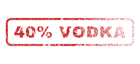 40: 40 Percent Vodka text rubber seal stamp for watermarks. Textured sticker. Vector red caption inside rounded rectangular shape. Grunge design and unclean texture.