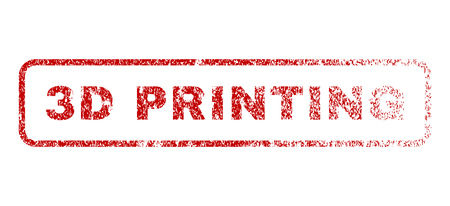 3D Printing text rubber seal stamp for watermarks. Textured sticker. Vector red tag inside rounded rectangular shape. Grunge design and unclean texture.