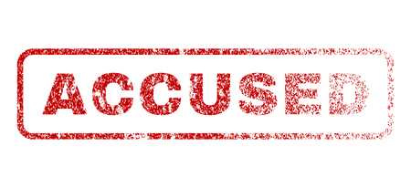 Accused text rubber seal stamp for watermarks. Textured sticker. Vector red tag inside rounded rectangular shape. Grunge design and scratched texture.