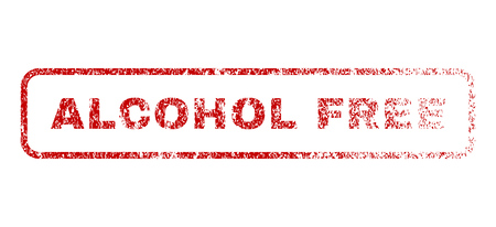 Alcohol Free text rubber seal stamp for watermarks. Textured sign. Vector red caption inside rounded rectangular banner. Grunge design and unclean texture.