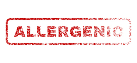allergenic: Allergenic text rubber seal stamp for watermarks. Textured sticker. Vector red tag inside rounded rectangular banner. Grunge design and dust texture.
