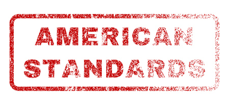 American Standards text rubber seal stamp for watermarks. Textured sticker. Vector red caption inside rounded rectangular banner. Grunge design and scratched texture. Illustration