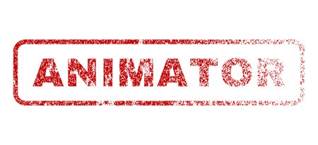 Animator text rubber seal stamp for watermarks. Textured sign. Vector red caption inside rounded rectangular shape. Grunge design and dirty texture.