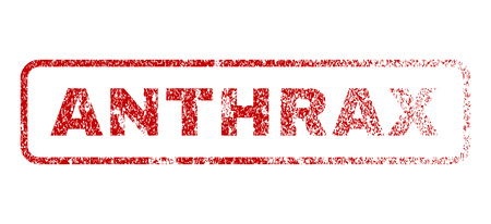 Anthrax text rubber seal stamp for watermarks. Textured message. Vector red caption inside rounded rectangular shape. Grunge design and scratched texture.