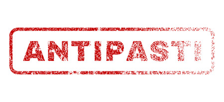 Antipasti text rubber seal stamp for watermarks. Textured sign. Vector red caption inside rounded rectangular banner. Grunge design and unclean texture.
