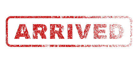 Arrived text rubber seal stamp for watermarks. Textured message. Vector red caption inside rounded rectangular shape. Grunge design and dirty texture.