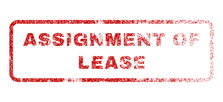 Assignment Of Lease text rubber seal stamp for watermarks. Textured sign. Vector red tag inside rounded rectangular banner. Grunge design and scratched texture.