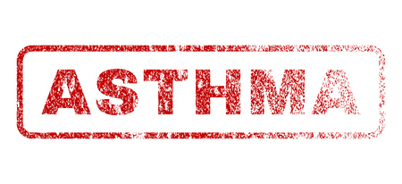 Asthma text rubber seal stamp for watermarks. Textured emblem. Vector red tag inside rounded rectangular banner. Grunge design and unclean texture.