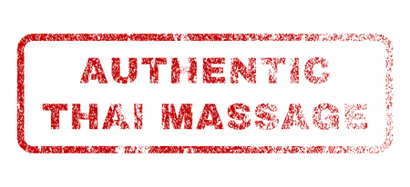 massage symbol: Authentic Thai Massage text rubber seal stamp for watermarks. Textured message. Vector red caption inside rounded rectangular shape. Grunge design and dirty texture. Illustration