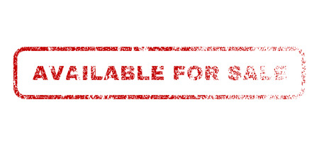 Available For Sale text rubber seal stamp for watermarks. Textured message. Vector red caption inside rounded rectangular banner. Grunge design and dirty texture.