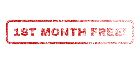 1st Month Free! text rubber seal stamp for watermarks. Textured emblem. Vector red caption inside rounded rectangular shape. Grunge design and unclean texture.