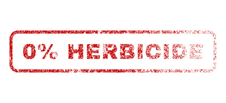 herbicide: 0 Percent Herbicide text rubber seal stamp for watermarks. Raster red tag inside rounded rectangular shape. Grunge design and dust texture. Textured message. Stock Photo
