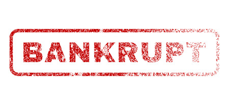 Bankrupt text rubber seal stamp for watermarks. Raster red tag inside rounded rectangular banner. Grunge design and dust texture. Textured sign.