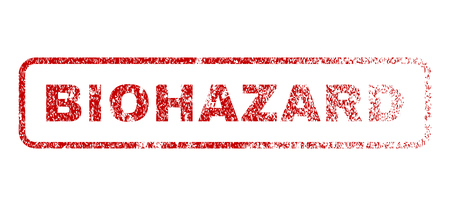 biohazard: Biohazard text rubber seal stamp for watermarks. Raster red caption inside rounded rectangular banner. Grunge design and dust texture. Textured message.