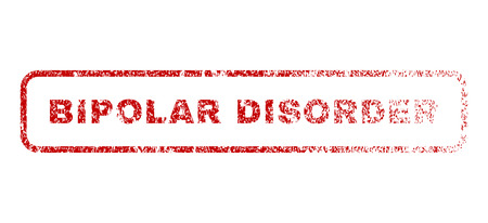 elation: Bipolar Disorder text rubber seal stamp for watermarks. Raster red tag inside rounded rectangular banner. Grunge design and dust texture. Textured emblem.
