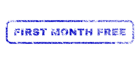 First Month Free caption textured seal imprint for watermarks. Blue Vector.