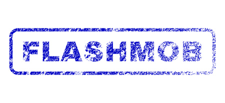 mobilization: Flashmob tag unclean seal imprint for watermarks. Blue Vector.