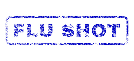 infectious disease: Flu Shot caption textured seal imprint for watermarks. Blue Vector. Illustration