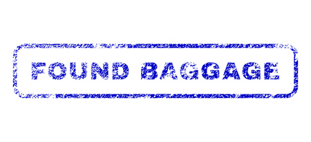 found: Found Baggage caption dirty seal stamp for watermarks. Blue Vector.