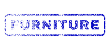 Furniture text scratched seal stamp for watermarks. Blue Vector.