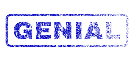 Genial message textured seal imprint for watermarks. Blue Vector.