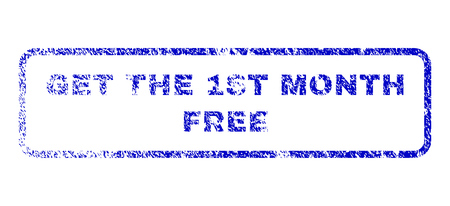 Get The 1st Month Free text scratched seal stamp for watermarks. Blue Vector. Illustration
