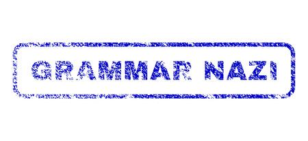 grammatical: Grammar Nazi caption unclean seal stamp for watermarks. Blue Vector.