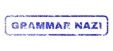 Grammar Nazi caption unclean seal stamp for watermarks. Blue Vector.