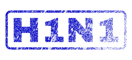 influenza: H1N1 tag dirty seal stamp for watermarks. Blue Vector.