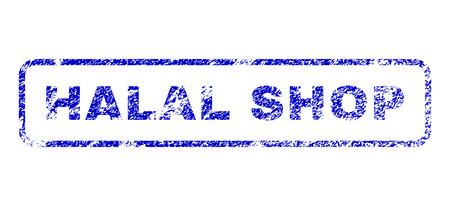 Halal Shop text grunge seal stamp for watermarks. Blue Vector.