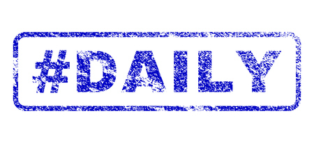 every day: Hashtag Daily text dirty seal imprint for watermarks. Blue Vector.