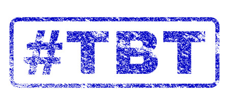Hashtag Tbt text scratched seal imprint for watermarks. Blue Vector.