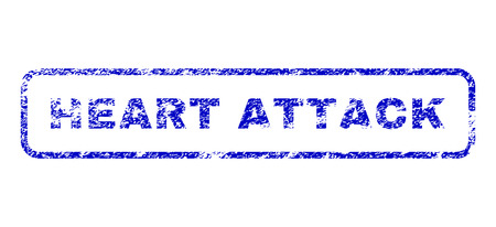 Heart Attack tag grunge seal stamp for watermarks. Blue Vector.