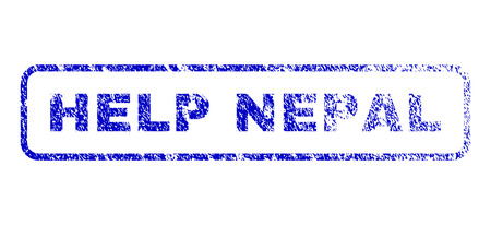 Help Nepal caption unclean seal stamp for watermarks. Blue Vector. Illustration