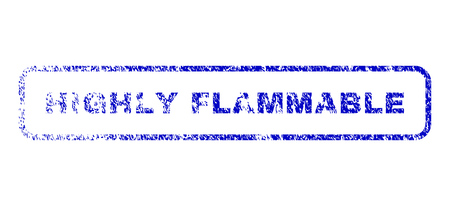 Highly Flammable message grunge seal stamp for watermarks. Blue Vector. Illustration