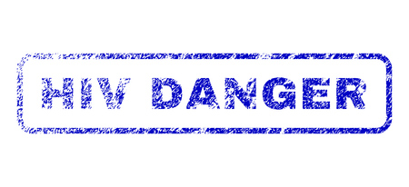 biohazard: HIV Danger tag dirty seal stamp for watermarks. Blue Vector. Illustration