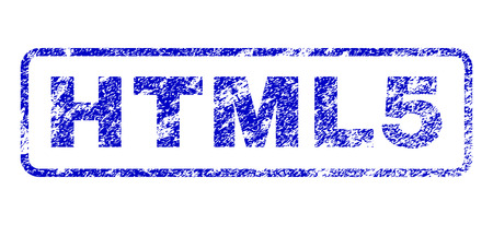 markup: HTML5 message rubber seal imprint for watermarks. Blue Vector.