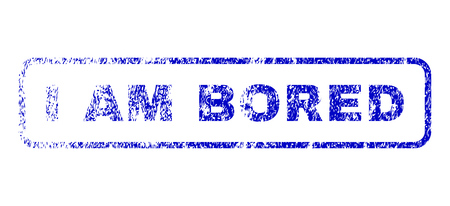 disinterested: I Am Bored message dirty seal stamp for watermarks. Blue Vector. Illustration